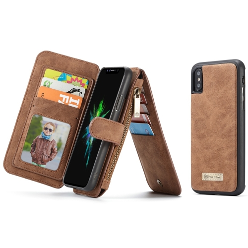 CaseMe-007 for iPhone X / XS TPU + PC Magnetic Absorption Detachable Back Cover Horizontal Flip Leather Case with Card Slots & Zipper Wallet & Photo Frame (Brown)