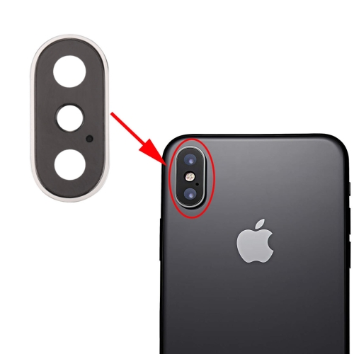 Rear Camera Lens Ring for iPhone X(Silver)