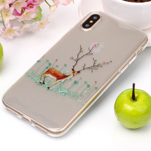 Buy For iPhone X Tree Branch Elk Pattern High Transparency Soft TPU Protective Case for $1.41 in SUNSKY store