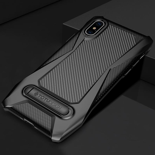 TOTUDESIGN Super Car Series for iPhone X TPU+PC Protective Back Case with Magnetic Holder (Black) tpu shatter resistant back protective case for iphone x