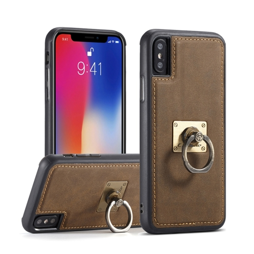 Buy CaseMe H3 for iPhone X TPU + PC 360 Degree Full Protection Back Cover Case with Detachable Magnetic Ring Holder & Lanyard, Coffee for $3.96 in SUNSKY store