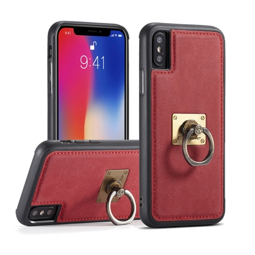 Buy CaseMe H3 for iPhone X TPU + PC 360 Degree Full Protection Back Cover Case with Detachable Magnetic Ring Holder & Lanyard, Red for $3.96 in SUNSKY store