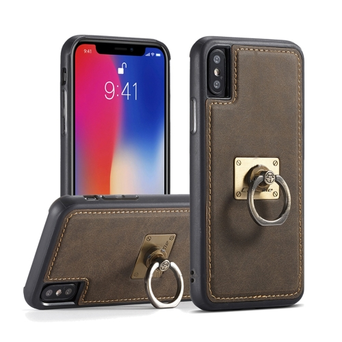 Buy CaseMe H3 for iPhone X TPU + PC 360 Degree Full Protection Back Cover Case with Detachable Magnetic Ring Holder & Lanyard, Brown for $3.96 in SUNSKY store