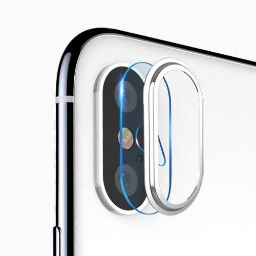 TOTUDESIGN for iPhone X High Permeability Tempered Glass Camera Lens Protective Film Set(Silver)