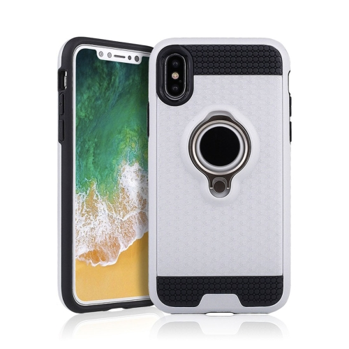 Buy For iPhone X TPU + PC Shockproof Protective Back Case with Magnetic Rotatable Ring Holder, White for $2.29 in SUNSKY store