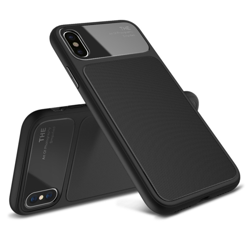 Lenuo LeJazz Series for iPhone X Shockproof TPU + Glass Protective Back Case (Black) tpu shatter resistant back protective case for iphone x