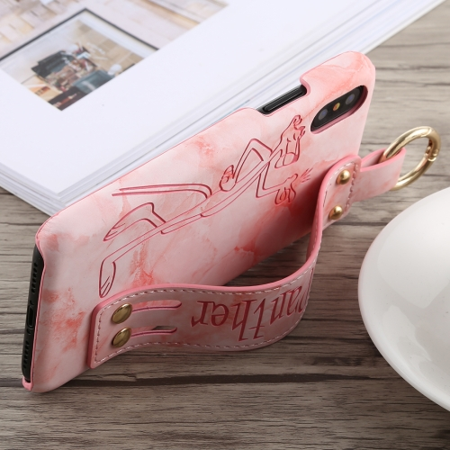 Long Pink Panther Pattern Crocodile Texture PU+PC Case for iPhone X, with Holder