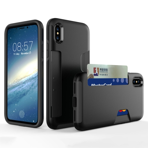 Buy For iPhone X TPU + PC Shockproof Protective Back Case with Card Slot, Black for $2.28 in SUNSKY store