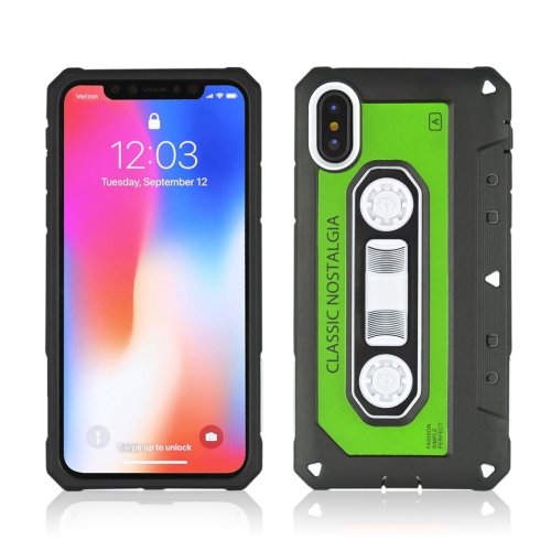 Buy For iPhone X Nostalgic Tape Style TPU+PC Protective Back Case, Green for $2.14 in SUNSKY store