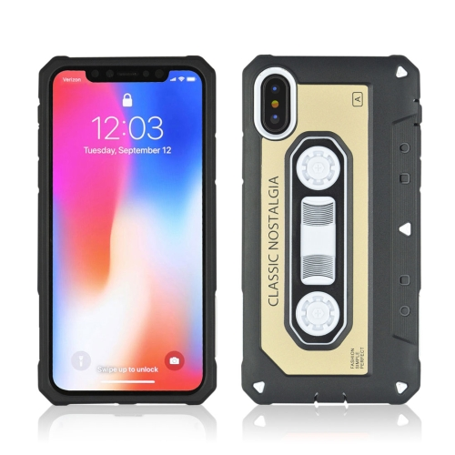 For iPhone X Nostalgic Tape Style TPU+PC Protective Back Case, Gold