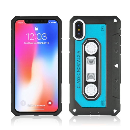 Buy For iPhone X Nostalgic Tape Style TPU+PC Protective Back Case, Blue for $2.13 in SUNSKY store