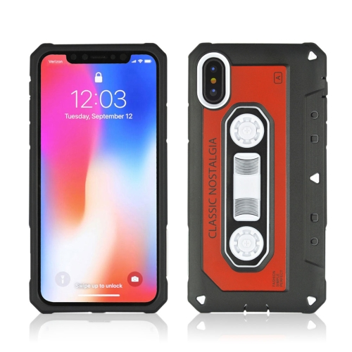 Buy For iPhone X Nostalgic Tape Style TPU+PC Protective Back Case, Red for $2.13 in SUNSKY store