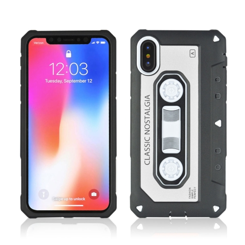 Buy For iPhone X Nostalgic Tape Style TPU+PC Protective Back Case, Silver for $2.13 in SUNSKY store