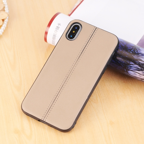 Buy For iPhone X Plain Weave Texture Leather Surface Protective Back Cover Case, Brown for $2.01 in SUNSKY store