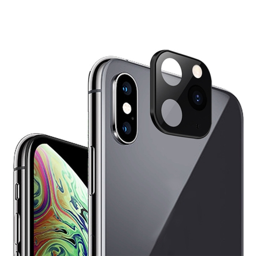 11 Pro / 11 Pro Max Style Metal Rear Camera Lens Protector Film for iPhone X / XS / XS Max(Black)