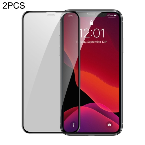 2 PCS Baseus 0.3mm Full Screen Curved Edge Cellular Dust Anti-glare Tempered Glass Film for iPhone 11 Pro Max / XS Max