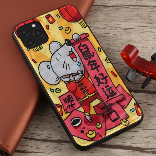 For iPhone 11 Pro Max Good Luck in Rat Year Pattern Shockproof PC Protective Case