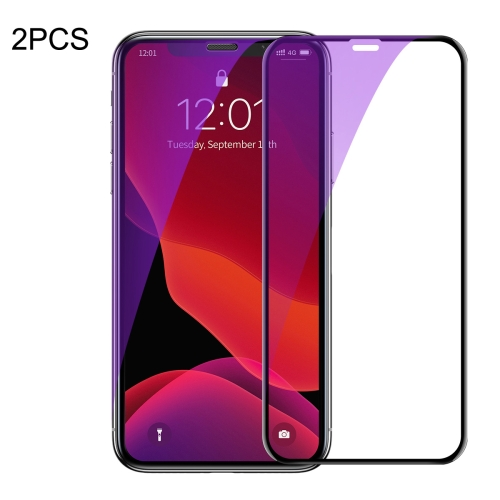 2 PCS Baseus 0.23mm Anti Blue-ray Crack-resistant Edges Curved Full Screen Tempered Glass Film for iPhone 11 / XR