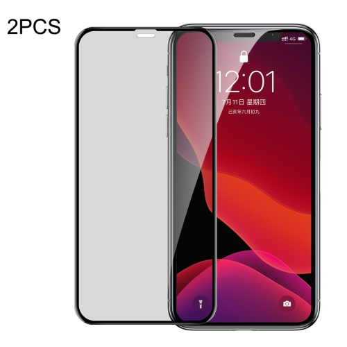 2 PCS Baseus 0.23mm Privacy Anti-glare Crack-resistant Edges Curved Full Screen Tempered Glass Film for iPhone 11 / XR