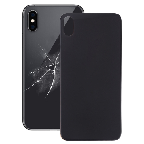 Easy Replacement Big Camera Hole Glass Back Battery Cover with Adhesive for iPhone XS Max(Black)