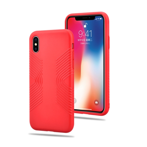 Solid Color Anti-slip Shockproof TPU Case for iPhone XS Max (Red)