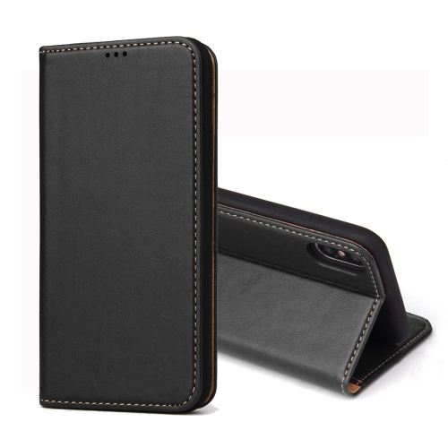 Dermis Texture PU Horizontal Flip Leather Case for iPhone XS Max, with Holder & Card Slots & Wallet (Black)