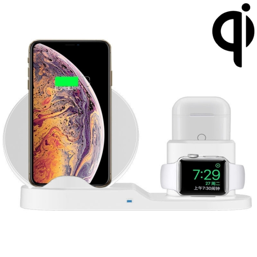 N30 3 in 1 Fast Wireless Charger Holder for Qi Standard Smartphones & iWatch & AirPods (White)