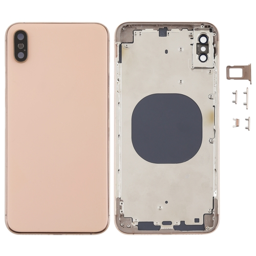 Back Cover with Camera Lens & SIM Card Tray & Side Keys for iPhone XS Max(Gold)