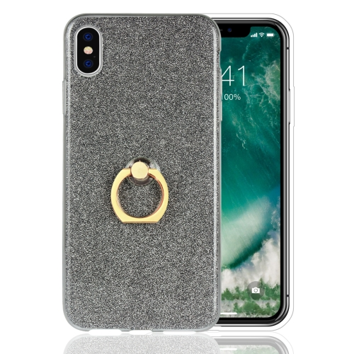 Glittery Powder Shockproof TPU Case for iPhone XS Max, with 360 Degree Rotation Ring Holder(Black)
