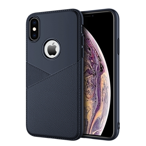 Ultra-thin Shockproof Soft TPU + Leather Case for iPhone XS Max (Blue)