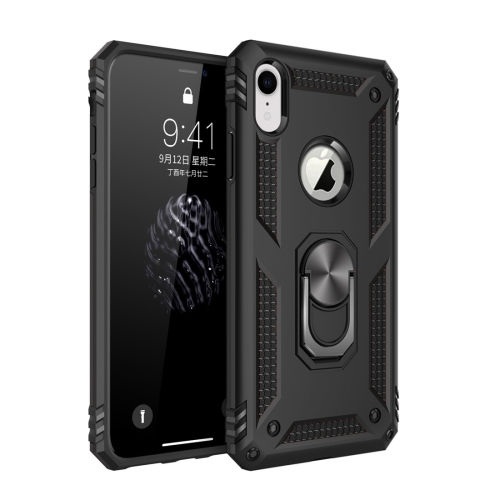 Sergeant Armor Shockproof TPU + PC Protective Case for iPhone XR, with 360 Degree Rotation Holder (Black)