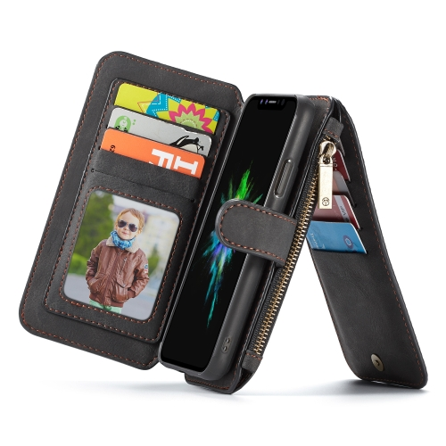 CaseMe Crazy Horse Texture Detachable Horizontal Flip PU Leather Case for iPhone XR, with Card Slot & Holder & Zipper Wallet & Photo Frame (Black)