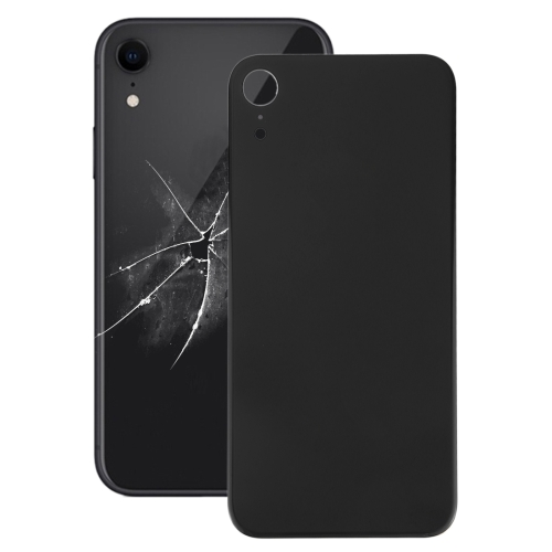 Easy Replacement Big Camera Hole Glass Back Battery Cover with Adhesive for iPhone XR(Black)
