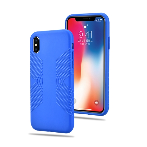 Solid Color Anti-slip Shockproof TPU Case for iPhone XR (Blue)