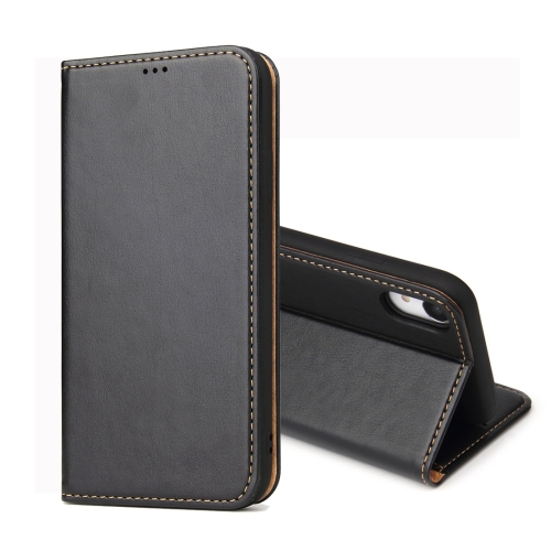 Dermis Texture PU Horizontal Flip Leather Case for iPhone XR, with Holder & Card Slots & Wallet (Black)