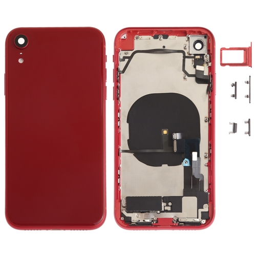 Battery Back Cover Assembly (with Side Keys & Loud Speaker & Motor & Camera Lens & Card Tray & Power Button + Volume Button + Charging Port + Signal Flex Cable & Wireless Charging Module) for iPhone XR(Red) фото