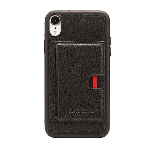 Pierre Cardin PCL-P11 Shockproof TPU + Leather Protective Case for iPhone XR, with Holder & Card Slot (Black)