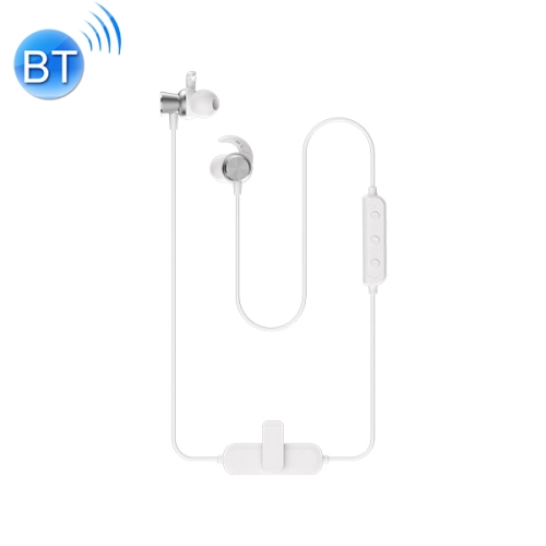 WK BD290 Bluetooth 5.0 Lavalier Magnetic Adsorption Wired Control Wireless Sports Bluetooth Earphone, Support Call (White)