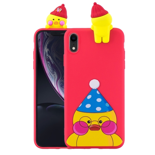 3D Paster Little Yellow Duck Pattern TPU Protective Case for iPhone XR