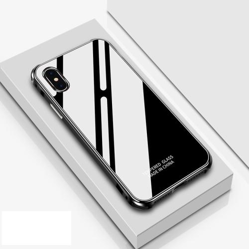 Crystal Cube Shockproof Airbag Tempered Glass + Metal Frame Case for iPhone XR (Black)
