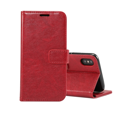 Retro Crazy Horse Texture Horizontal Flip Leather Case for iPhone XS , with Card Slots & Holder & Wallet & Photo Frame (Red)