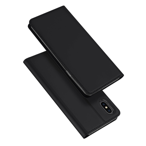 DUX DUCIS Skin Pro Series Horizontal Flip PU + TPU Leather Case for iPhone X / XS, with Holder & Card Slots (Black)