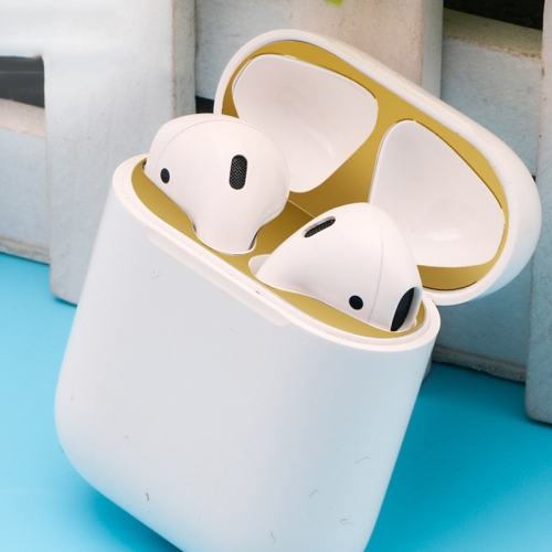 Metal Dustproof Sticker for Apple AirPods 2(Gold)