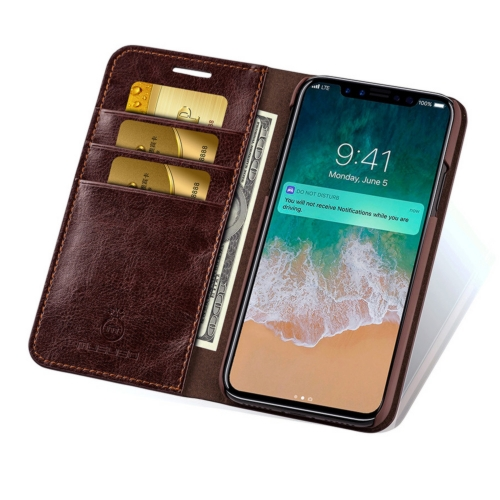 MUSUBO S3 Crazy Horse Texture Horizontal Flip PU Leather Case for iPhone XS / X, with Card Slots & Wallet(Brown)
