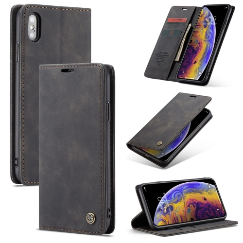 CaseMe-013 Multifunctional Retro Frosted Horizontal Flip Leather Case for iPhone X / XS, with Card Slot & Holder & Wallet(Black)