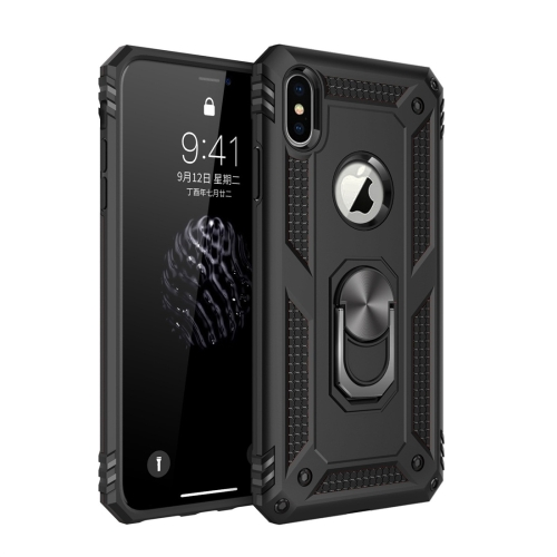 Sergeant Armor Shockproof TPU + PC Protective Case for iPhone X / XS, with 360 Degree Rotation Holder (Black)