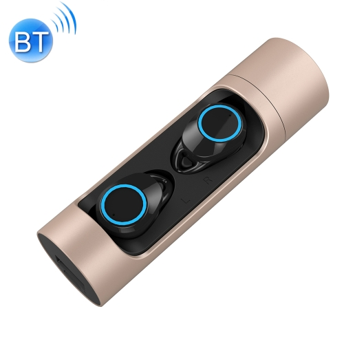 TWS-X8 IPX7 Waterproof Wireless Bluetooth 5.0 Stereo Earphone with 1000mAh Charging Bin, For iPhone, Galaxy, Huawei, Xiaomi, HTC and Other Smartphones(Gold)