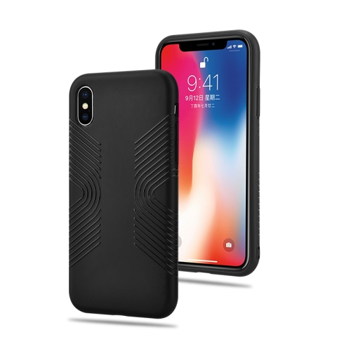 Solid Color Anti-slip Shockproof TPU Case for iPhone XS / X (Black)