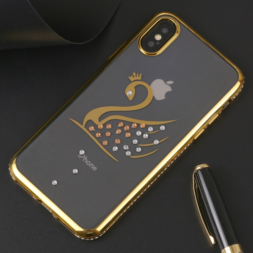 Swan Pattern Diamond Border TPU Protective Case for iPhone X / XS (Gold)