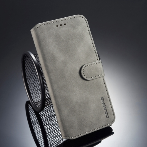 DG.MING Retro Oil Side Horizontal Flip Case for iPhone XS / X, with Holder & Card Slots & Wallet (Grey)